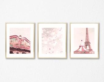 Girl nursery decor girl nursery wall art girl, Paris wall art, hot air balloon nursery, framed wall art, Paris photography, violet, lavender