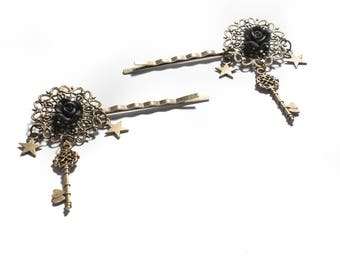 Set of 2 Bobby pins bronze Pin Up Retro Vintage Rockabilly Black Rose