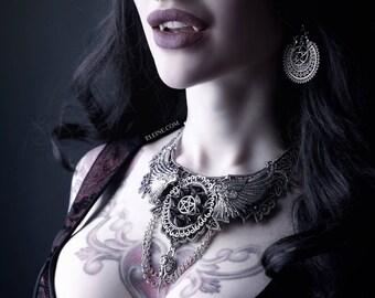 Silver pentagram cross spikes ♰ 666 Vampiria 666 ♰ lace bib necklace