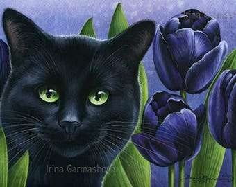 Botanical Black Cat Print Black Tulips by Irina Garmashova