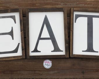 EAT Wood Sign | EAT Metal Sign | EAT Sign | Gallery Wall Decor | Kitchen