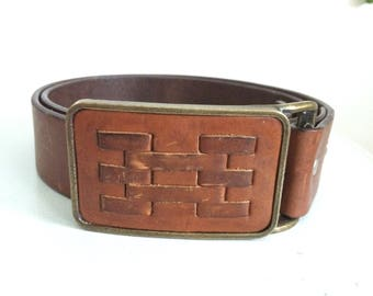 Vintage leather belt with brass and leather buckle 34/36