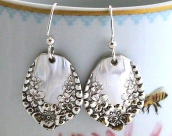 MAYFLOWER 1901 Spoon Jewelry Earrings Antique Silverware Jewelry STERLING SILVER Ear Wires Nice Keepsake Gift Under 40 Ready To Ship