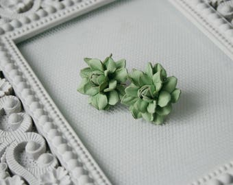 Soft green rose leather studs earrings