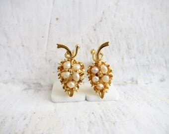 Antique Seed Pearl 10K Gold Earrings in Fruit Design from the Philippines