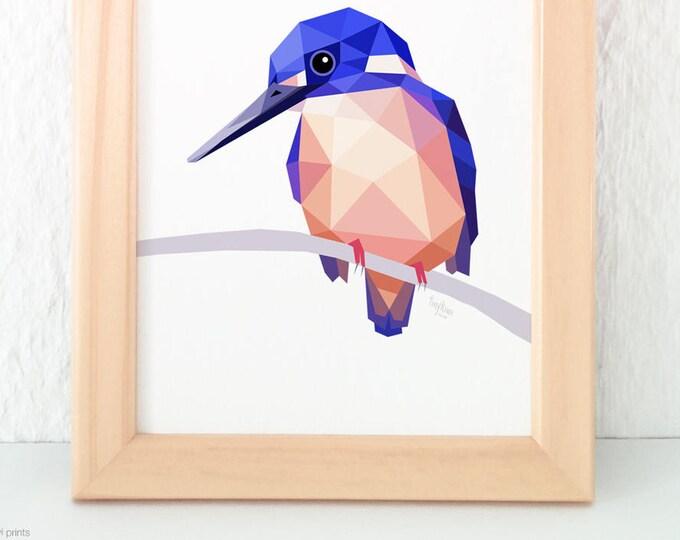 Azure kingfisher print, Australian kingfisher, Australian wildlife art, Australian birds, Geometric kingfisher, Bird wall art, Rare birds