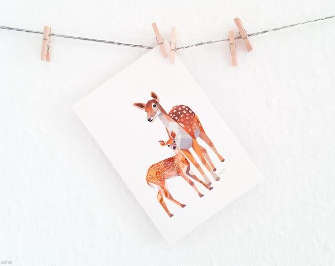 Deer mother baby print, New baby art, Mother animal, Deer illustration, Forest wildlife, Woodland family art, Nursery animals, Baby animal