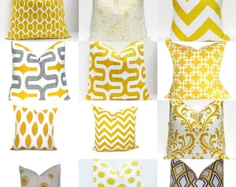 15% Off Sale Decorative Pillows Yellow Pillows,Yellow Gray , Yellow Pillow Covers -  Throw Pillows - Pillow Cases Handmade - 18x18 20x20 16x