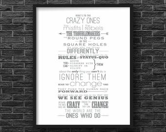 Here's to the Crazy Ones - Steve Jobs Inspirational Quote