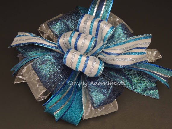 Hanukkah Home Decor Hanukkah Door Hanger Bow Royal Silver Wreath Bow Blue Winter Holidays Decor Blue Silver Topper Gift Bow -LIMITED EDITION