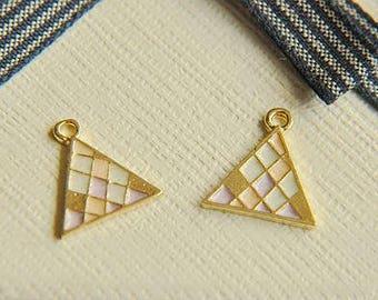 6pcs alloy Pattern lattice triangle earrings pendant