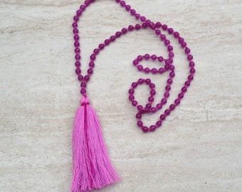 Pink Agate Tassel Necklace Fuschia Agate Tassle Necklace Hand Knotted Beaded Tassel Necklace Pink Agate Beads Long Tassle Tiered Necklace