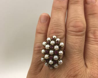 Ruby and Pearl Cluster Ring - 14k Yellow Gold Large Statement Ring