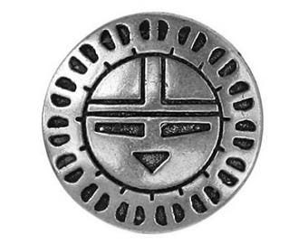 12 Zuni Sunface 7/8 inch ( 22 mm ) Metal Buttons Antique Silver Color