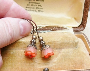 1stDayofSummerSALE Orange Tangerine Earrings, Filigree Flower Blossom Romantic Summer
