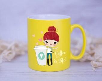 Coffee Is Life Satin Coated Mug