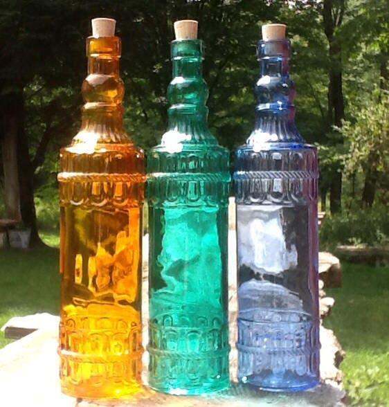 Colored glass bottles bottle tree vintage wedding decor glass for Colored bottles for decorations