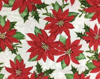 Poinsettia Fabric - Winter Lodge -  Cotton Fabric - Studio E -  XMAS-07