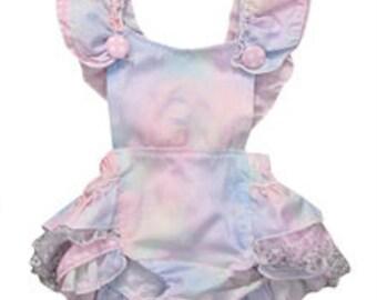 Baby Infant Girl Pastel Pink, Lavender and Blue Ruffle Romper Sunsuit Bubble Sun Suit