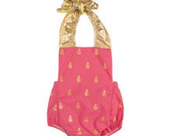 Coral Pink and Gold Baby Infant Girl Romper Sunsuit Bubble Sun Suit