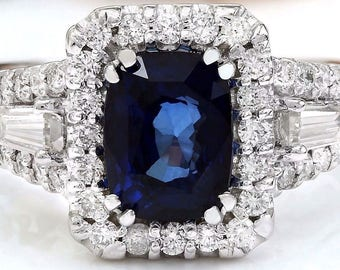 Beautiful, 14k, Solid, White, Gold, Natural, Blue, Sapphire, Diamond, Ring
