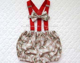 First Birthday Outfit Boy Girl Smash Cake Baseball 1, 2, or 3 piece Diaper Cover Bow Tie Suspenders 1st Birthday Sports ball Photoshoot2