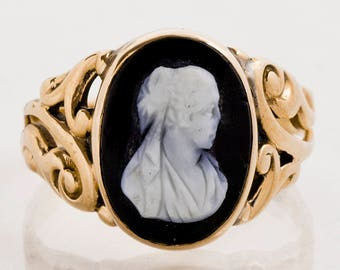 Antique Ring - Antique 10k Yellow Gold Black Onyx Cameo Ring