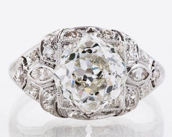 Antique Engagement Ring - 3.37ctw - Antique Art Deco Platinum Diamond Ring
