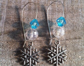 Snowflakes earrings silver turquoise large clips 2