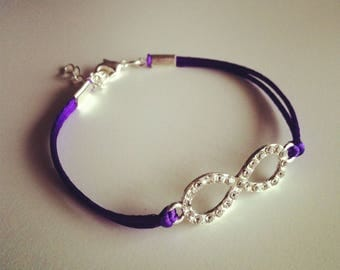 Purple cord with sign bracelet infinity strass