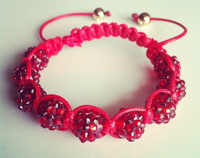 #32 red adjustable Shamballa bracelet
