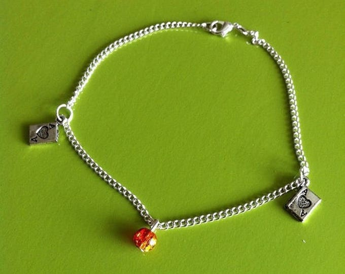 Red and yellow POKER ankle chain