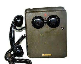 Vintage Kellogg Military Phone - Green and Black Wall Phone, Military Mid Century Phone,