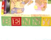 BENNY, Upcycled, Altered Art, Vintage Wooden Letter Block Name, Little Princess Bedroom Decor or Nursery Decor, Baby Shower Gift Inspiration