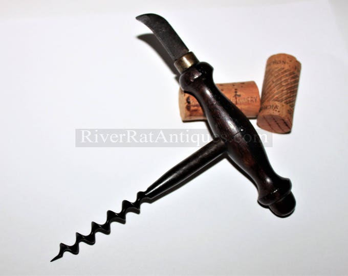Antique Victorian Era English Rosewood Straight Pull Corkscrew with Foil Cutter