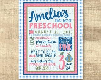 First Day Of School Sign, Matilda Jane Inspired, Pink, Kindergarten, Preschool, Back To School Sign, Digital Milestone Sign 8x10 or 11x14