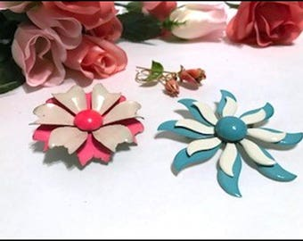 Boquet of Flower Power with Three Vintage Flower Brooches -Blue - Pink and Orange Flowers- - Pin-2203a-072417015