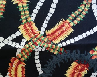 Hawaiian Fabric, Black ground with florals, yardage