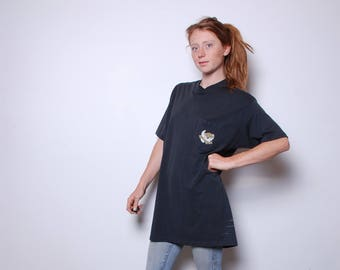 80s xl long Harley Davidson tee shirt mens womens unisex vintage clothing Live to ride Motorcycle top extra long black t shirt dress