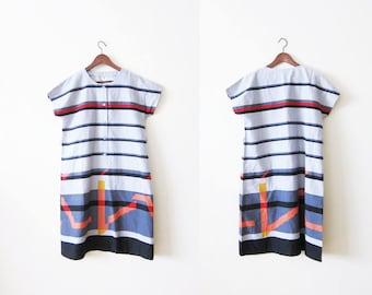 Striped Dress / Abstract Print Dress / Boxy Dress / 80s Dress / Vintage Sundress / Summer Dress / Minimalist Dress / Unstructured