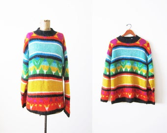 90s sweater - rainbow sweater - mohair crewneck sweater - baggy oversized knit pullover - colorful 1990s striped sweater  - geometric