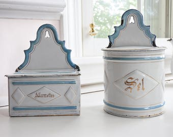 French Antique Enamelware Salt and Match Boxes, Rare matching pair, Blue & White, c. 1900, Christmas gift, Embossed decor, wall-hanging