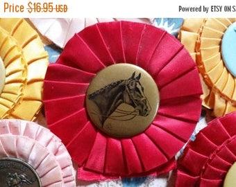 ON SALE 25% OFF Vintage Red Horse Show Rosette Ribbon Award Trophy Bow N0.4