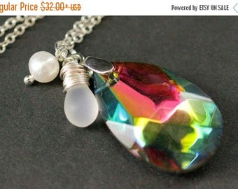 BACK to SCHOOL SALE Crystal Rainbow Necklace. Rainbow Teardrop Necklace. Rainbow Crystal Necklace with Wire Wrapped Teardrop and Pearl. Crys