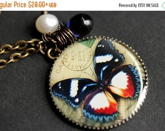 VALENTINE SALE Colorful Butterfly Necklace. Butterfly Pendant with Dark Blue Teardrop and Fresh Water Pearl. Charm Necklace. Bronze Necklace