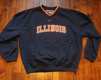 Illinois fighting Illini lightweight Nike Windbreaker NCAA collegiate athletics jacket XL