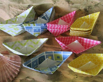 beach pool party 24 paper boats decoration photo prop party favor lot of 24 boats cake cupcake topper