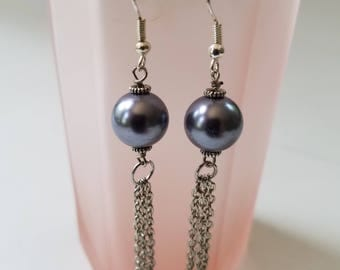 Grey Pearl and Chain Dangle Earrings-by Endora's Box