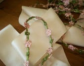 rare antique authentic ribbon work silk and metallic  Garland