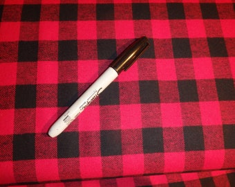 "Lumberjack Plaid, Two Yards Red & Black Plaid, Buffalo Flannel Fabric, 3/4"" Check,  56"" Wide, Yarn-Dyed 100% Cotton - Buy 2 Yards and Save!"